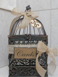 Birdcage Wedding Card Holder / Rustic Burlap Wedding Card Box