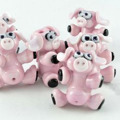 Lampwork glas roze varken kralen voor sieraden  door IzzyBeads