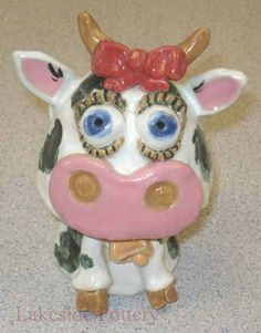 clay cow children project - bobble head
