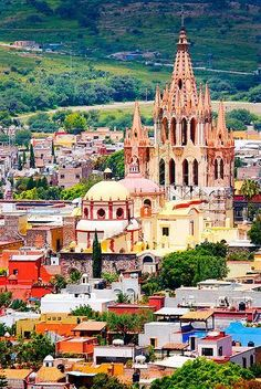 La Parroquia, San Miguel de Allende, Mexico. One of two of my favorite towns in Mexico! Hopped a bus, from San Antonio...some 18 hours later, looked down upon the twinkling lights of a sleeping village, anxious for sleep of my own!