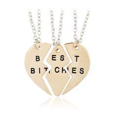 Jane Stone 3 PCs Collier d'Amitie Forever Pendentif Coeur Briser Best Bitches Femme Bijoux Mode Dore: Amazon.fr: Bijoux