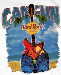 Hard Rock Cafe Cancun T-Shirt Graphic Guitar Jeans M Adult Music Tee Mexico #HardRockCafe #GraphicTee