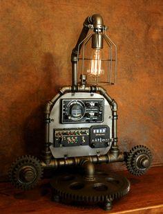 Steampunk Aviation Machine Age Lamp # 2