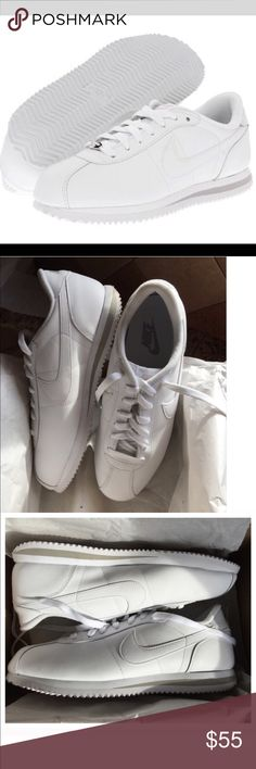 Retro Nike Cortez Mens Leather Track Tennis Shoes New! Classic Retro Nike Cortez Mens White Leather Track Tennis Shoes - They are a mens size 9 and a women's size 11 however they fit more like a size 10 or 10.5 and are too tight for my size 11 feet. These look great and show just a light yellowing or darkening from sitting/age (please see pics) - Nothing major - I have worn these indoors only to try walking around the house, not outdoors - You may be able to lightly bleach or polish the…