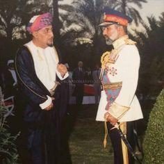 H.M Sultan Qaboos bin Said with his uncle H.H Sayyid Tariq bin Taimuir.