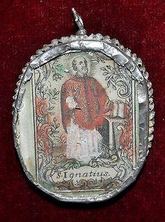 S. Ignacio de Loyola. antiguo medallón de plata.