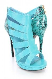 Blue Cut Out Animal Print Heel Booties Faux Leather