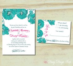 Wedding Invitation  Turquoise Flowers Sketch  by DaisyDesignShop