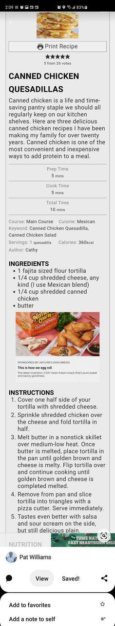 Chicken Quesadillas, Canned Chicken, Flour Tortillas, Fajitas, Enchiladas, Food Print, Tacos, Meals, Cooking