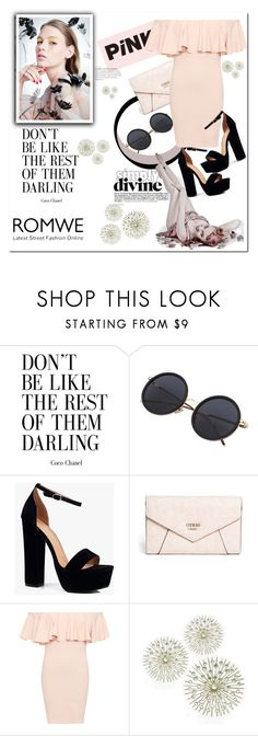 """""""ROMWE"""" by smajicelma ❤ liked on Polyvore featuring Boohoo, GUESS and WearAll"""