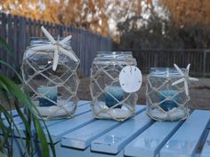 Candle Holder Jars Nautical Rope and Starfish (set of 3) on Etsy, $30.00