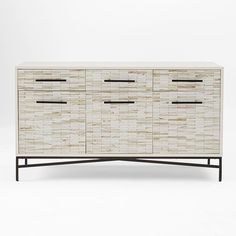 West Elm Wood Tiled Media Console ($959) ❤ liked on Polyvore featuring home, furniture, storage & shelves, buffet, west elm, hardware furniture, wooden furniture, west elm furniture and drawer furniture