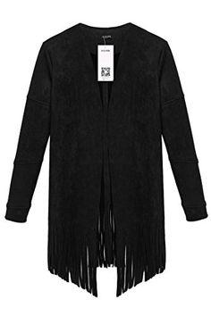 ACEVOG Women Draped Front Open Cardigan Outerwear Tassel Coat Jacket (L, Black(FBA))
