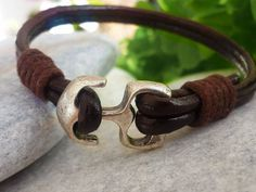 Anchor Leather Bracelet Leather Jewelry Nautical by tovvanda