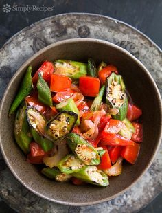 Okra and Tomatoes ~ Okra, sliced and quickly seared on high heat, then cooked with fresh tomatoes, onions, and jalapenos. ~ SimplyRecipes.com