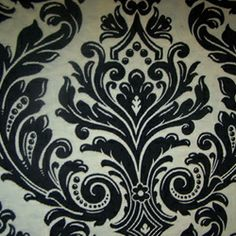Floral Fabric - Decorating Fabrics -M9209 Onyx Floral Upholstery Fabric by Barrow