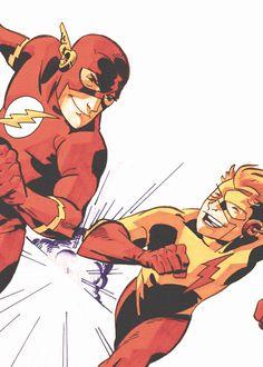 The Flash and Kid Flash Wally West, Marvel Comic Universe, Comics Universe, Marvel Dc, Dc Speedsters, O Flash, Flash Art, Batman Drawing, Flash Barry Allen