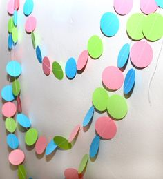 pink, blue, and green paper garland, birthday party, nursery, decoration
