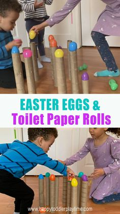 Easter Eggs & Toilet Paper Rolls Here is a fun and crazy quick to set up Easter activity that only requires two things and one excites toddler or preschooler. Fine Motor Activities For Kids, Motor Skills Activities, Preschool Learning Activities, Games For Toddlers, Infant Activities, Toddler Preschool, Fine Motor Skills, Preschool Activities, Kids Learning