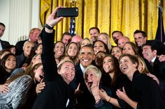 """Oct. 27, 2015 """"The President participates in a group selfie in the East Room with the United States Women's National Soccer Team celebrating their victory in the 2015 FIFA Women's World Cup."""" (Official White House Photo by Lawrence Jackson)"""