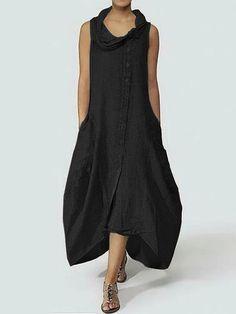 5585760fa576 Women Sleeveless Turtleneck Casual Baggy Tunic Shirt Maxi Dress