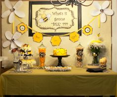 """""""What will it bee??"""" baby shower dessert table"""