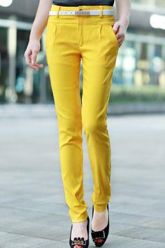 High Waist Straight Pants - OASAP.com