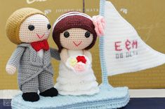 """""""On this day, on their love boat, they embark on a new journey together, and begin a blissful and perhaps adventurous life chapter! When together, they complement each other, perfectly."""" #weddingdolls #wedding #saplanetoriginals #crochet #handmade #amigurumi #decoration #gifts"""