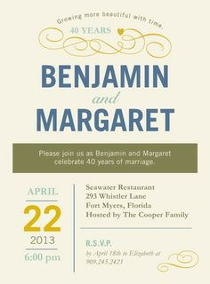 Understated Appeal - Anniversary Invitations in Linen or Dark Gray | Hallmark