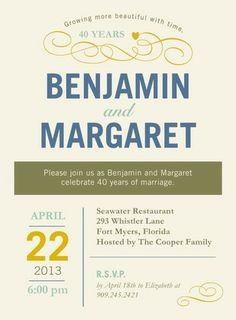 Understated Appeal - Anniversary Invitations in Linen or Dark Gray | Hallmark