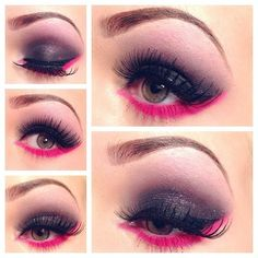 Black and fuchsia eyeshadow.