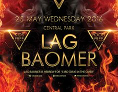 """Check out new work : """"Lag BaOmer PSD Flyer Template"""" #event #party #lag #baomer #fire"""