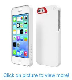 Tech Armor SlimProtect Grip Tough Scratch-Resistant Case / Cover for iPhone 5S / 5 (White/Red) Lifetime Warranty