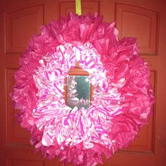 Tissue paper and pool noodle wreath I made