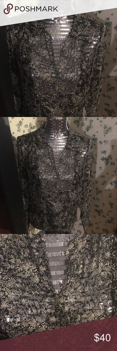 ECI silk beaded sheer floral blouse Demure office chic sheer 💯 silk bead embellished blouse by ECI. Definitely need a cami but very sweet piece of to add to your weekday wardrobe. ECI Tops Blouses