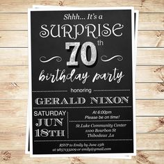 Surprise 70 birthday party invitations, surprise 70th birthday party ideas for men, 70th birthday party invitations, DIY Party Invitation