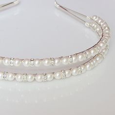 Items similar to Double Pearl Headband Bridal Headband, Wedding Hair Accessories - Wedding Headband - Double band Diamante and Pearl, Bridal, Bridesmaid on Etsy Wedding Headband, Pearl Headband, Bridal Hair, Pearl Bridal, Double Headband, Hair Wedding, Wedding Dress, Short Hair Accessories, Wedding Hair Accessories