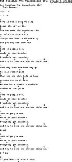 Love Song Lyrics for: Get Together-The Youngbloods 1967 with chords ...