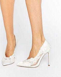 ASOS - PURE Bridal - Scarpe a punta in pizzo