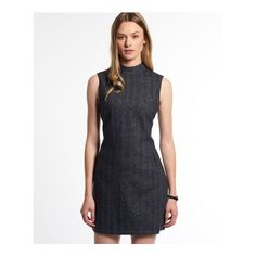 Superdry High Neck Tweed Dress (€92) ❤ liked on Polyvore featuring dresses, dark grey, high neck dress, dark grey dress, tweed dress, tweed shift dress and zip dress