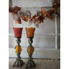 Ornate French Baroque Candlesticks. Pewter Stick Candleholders. Amber... ($25) ❤ liked on Polyvore featuring home, home decor and candles & candleholders