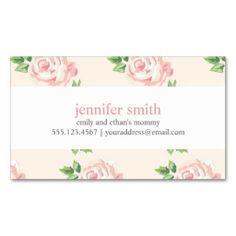 Pink Vintage Roses Pattern Business Cards
