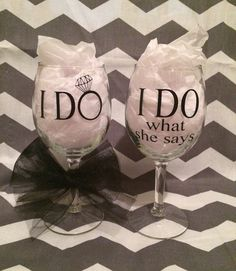 Fun Wedding Wine Glasses!