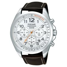 2df5dfadd Men's Pulsar Chronograph - Brown Leather Strap with Silver Dial - PT3419X