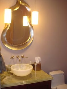 Zen Bathroom Lighting Fixtures kddi- powder room, custom vanity, wall mount faucet, sconces