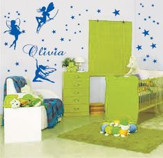 Name Customzied  Personal Fairy Vinyl Wall Decals Stickers  ids Nursery Room Girls Home Decoration Wall Murals KW-279