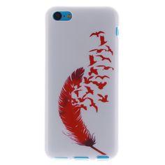Для Iphone 5C чехол красивый ретро красный перо художественный узор дизайн мягкие TPU телефон чехол и сумки задняя крышка для Iphone 5C чехолкупить в магазине E-DREAM Hongkong Science & Technology CO., LTD наAliExpress