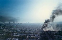 Midtown Los Angeles showing plumes of smoke from the numerous building fires in the city on April 30, 1992.