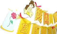 Items similar to Belle Princess Beauty and the Beast Themed Happy Birthday Pennant Banner in Pretty Yellows and Pink on Etsy Princess Beauty, Princess Theme, Princess Belle, Little Princess, Princess Party Decorations, Pennant Banners, Party Items, Beauty And The Beast, Amelia
