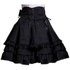 AvaLolita Black Gothic Steampunk Ruffled Tiered Layers Lolita Skirt ($52) ❤ liked on Polyvore featuring skirts, bottoms, dresses, black skirt, black layered skirt, double layer skirt, black gothic skirt and steam punk skirt